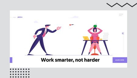 Bulling at Work, Aggression and Stress Website Landing Page. Businessman Throw Darts to Apple Lying on Head of Businesswoman Sitting at Office Desk Web Page Banner. Cartoon Flat Vector Illustration