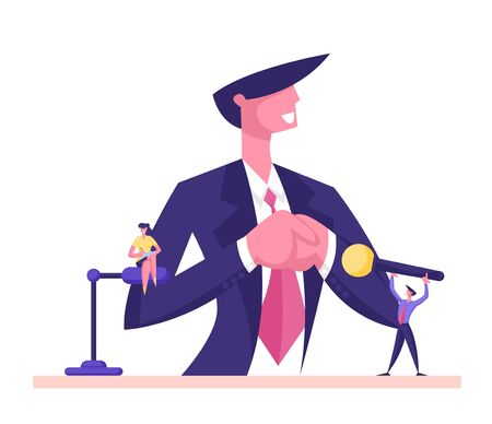Man in Suit Standing on Tribune with Microphones Straighten Tie. Politics Speaker Interview, Presidential Election, Candidate Speech, Lecture, Political Discussion. Cartoon Flat Vector Illustration