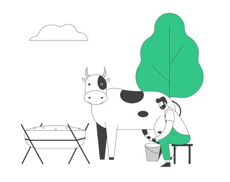 Young Milkmaid Man in Uniform Sitting on Stool Milking Cow to Bucket. Milk and Dairy Farmer Agriculture Products, Farming Rancher Working on Animal Farm. Cartoon Flat Vector Illustration, Line Art