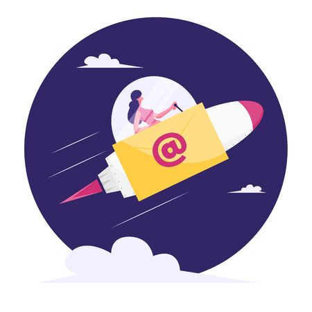 Businesswoman Flying to Space on Rocket Sitting in Cabin with Glass Dome and E-mail Sign on Board. Express Message, Business Mail Correspondence, Document Sending. Cartoon Flat Vector Illustration