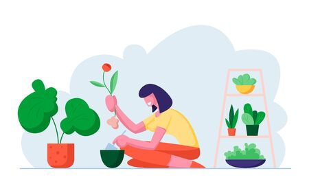 Young Woman Planting Flower to Pot in Beautiful Greenhouse. Botanist Care of Houseplant and Grow Herbs. Planter Hobby, Girl Caring for Plants at Home or Garden. Cartoon Flat Vector Illustration Illusztráció