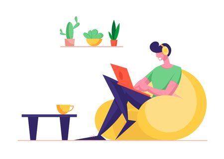 Freelance Occupation Concept. Relaxed Man Freelancer Character Sitting on Armchair Working Distant on Laptop from Home. Worker Creativity Process, Remote Workplace. Cartoon Flat Vector Illustration