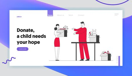 Volunteer Donation Center Website Landing Page. Woman Bringing Box with Kids Toys for Donate to Charity Organization Help People with Finance Problems Web Page Banner. Cartoon Flat Vector Illustration