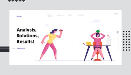 Dirty Tricks Unfair Fight Website Landing Page. Businesswoman Throw Darts to Apple Lying on Head of Business Woman Sitting at Office Desk. Office Life Web Page Banner. Cartoon Flat Vector Illustration Çizim
