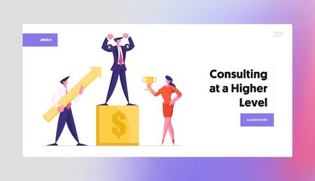 Goal Achievement Success Website Landing Page. Business Winner on Pedestal Demonstrate Power. Businesspeople Holding Golden Goblet and Huge Arrow Web Page Banner. Cartoon Flat Vector Illustration