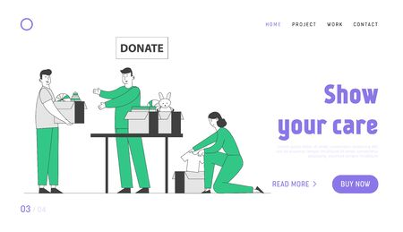 Donation to Poor Homeless People Website Landing Page. Young Man and Woman Altruistic Volunteers Collect Clothes and Toys to Cardboard Boxes for Bums Web Page Banner. Cartoon Flat Vector Illustration