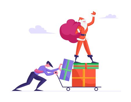 Businessman Pushing Trolley with Santa Claus Standing on Heap of Gift Boxes Holding Sack with Presents and Waving Hand. Merry Christmas and Happy New Year Celebration. Cartoon Flat Vector Illustration