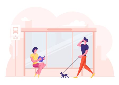 People on Bus Station. Young Woman Sitting on Bench Reading Book while Waiting Commuter. Relaxed Man Pedestrian Walking with Dog Talking by Smartphone. City Transport Cartoon Flat Vector Illustration Ilustração