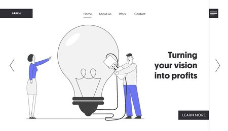 Brainstorm Research Website Landing Page. Business Team Work on Project Searching for Creative Idea. Woman Pointing Huge Light Bulb, Man Switch on Plug Web Page Banner Cartoon Flat Vector Illustration