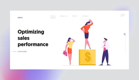 Career Success Website Landing Page. Businesspeople Watch on Business Woman Stand on Top of Winner Pedestal Demonstrate Muscles and Power to Colleagues Web Page Banner Cartoon Flat Vector Illustration Illustration