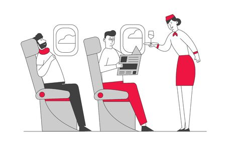 Cabin of Plane with Stewardess and Passengers, Mealtime in Economy Class. Woman Air Hostess with Tray in Aisle of Salon Giving Drink to Man. Journey Jet Trip Cartoon Flat Vector Illustration, Line Art Çizim