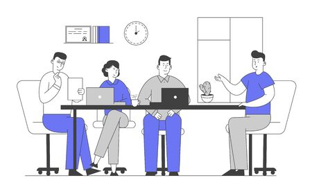 Job Interview with Selection Committee. Manager Asking Questions to Applicant About Work History Skill Expertise Experience. Businesspeople Listen Candidate. Cartoon Flat Vector Illustration, Line Art Ilustração