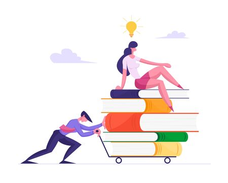 Businessman Pushing Heavy Trolley with Heap of Books and Businesswoman Sitting on Top with Light Bulb above Head. Office People Characters, Company Employees Study. Cartoon Flat Vector Illustration