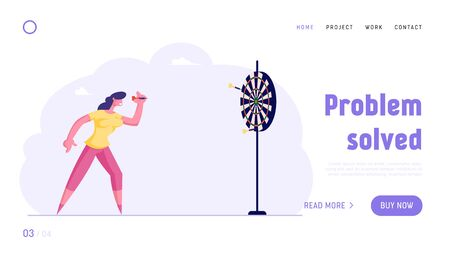 Task Solution, Business Strategy Website Landing Page. Businesswoman Aiming Darts to Target Trying to Get in Center. Business Goals Achievement Web Page Banner. Cartoon Flat Vector Illustration