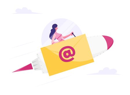 Businesswoman Flying on Rocket with Email Sign and Yellow Envelope on Board. Express Delivery of Electronic Message, Internet Post Service Concept. Correspondence Cartoon Flat Vector Illustration