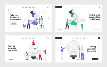 Business Idea, Teamwork Cooperation and Partnership Website Landing Page Set. Businesspeople Set Up Pie Chart, Switch on Huge Light Bulb. Solution Web Page Banner. Cartoon Flat Vector Illustration Çizim