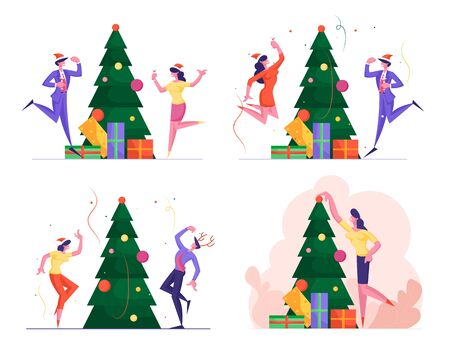 Set of Business People Have Fun on Office Christmas Party in Company of Happy Colleagues. New Year Celebration at Work with Champagne, Decorated Xmas Tree and Confetti Cartoon Flat Vector Illustration