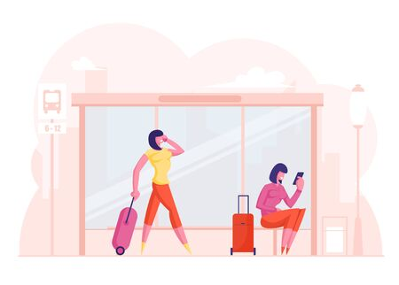 Young Women Waiting on Bus Station. Girls with Suitcases and Smartphones in Hand on Public Transport Platform. City Commuter Transportation Service, Tourists Abroad. Cartoon Flat Vector Illustration