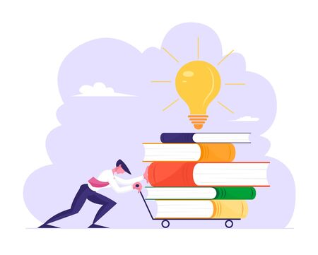 Man Pushing Trolley with Huge Steak of Books and Glowing Light Bulb. Businessman, Office Employee Character Gaining Education, Developing Creative Idea at Workplace. Cartoon Flat Vector Illustration