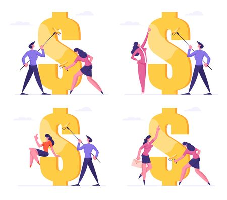 Set of Business Man and Woman with Rollers Drawing Huge Dollar Sign with Gold Paint. Economy and Finance Success, Commerce Money Profit Bank Cash Currency Symbol. Cartoon Flat Vector Illustration