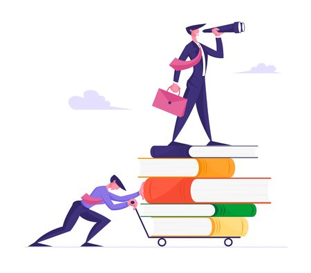 Way to Success, Business Vision and Education Concept. Businessman Pushing Trolley with Huge Pile of Books and Businessperson Standing on Top Looking to Spyglass. Cartoon Flat Vector Illustration Çizim