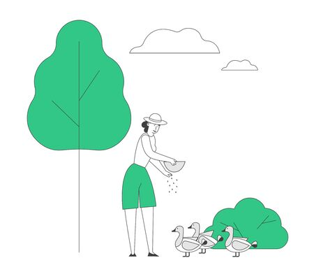 Young Woman Feeding Ducks at House Yard. Female Farmer, Villager Character at Work. Girl Care of Birds on Farm at Summertime. Agriculture, Poultry Farming Cartoon Flat Vector Illustration, Line Art