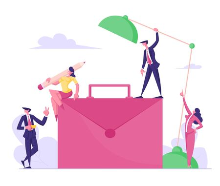 Process of Corporate Working and Communication. Office Employees around of Huge Briefcase. Woman Sitting with Pen on Top, Man with Lamp, Worker Drink Coffee, Lady Boss Cartoon Flat Vector Illustration