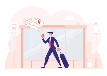 Online Navigation App Concept. Businessman with Luggage Stand on Bus Stop Watching on Mobile Phone Screen with Map Location Marker Geo Tag Gps Pointer. Business Trip Cartoon Flat Vector Illustration
