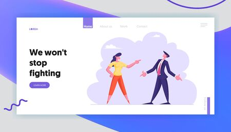 Work Conflict Between Colleagues or Office Employees Website Landing Page. Business Man and Woman Yelling on Each Other Having Quarrel and Fight Web Page Banner. Cartoon Flat Vector Illustration