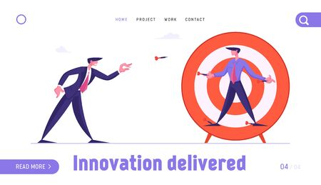 Competition Challenge Website Landing Page. Businessman Throw Darts to Business Man Nailed to Huge Target. Manager Characters Combat for Leadership Web Page Banner. Cartoon Flat Vector Illustration
