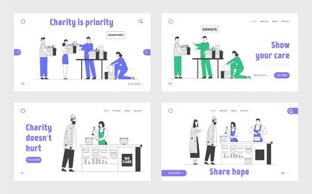 Charity and Donation Center Website Landing Page Set. Volunteer Help to Poor Families in Complicated Life Situation. Temporary Residence for Homeless Web Page Banner. Cartoon Flat Vector Illustration