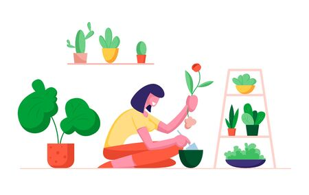 Woman Botanist Holding Spade Digging Home Plant Replanting to another Pot. Gardening Hobby, Female Character Care of Domestic Flower in Greenhouse Orangery or Home. Cartoon Flat Vector Illustration