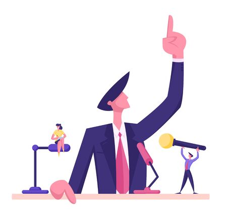 Man in Suit Standing Behind of Podium with Microphones Speaking with Index Finger Pointing Up. Candidate Speech, Lecture Political Discussion or Presidential Election. Cartoon Flat Vector Illustration