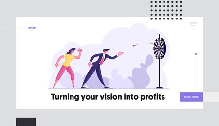 Business Task Solution Strategy Goals Website Landing Page. Mission Achievement and Corporate Competition. Businesspeople Playing Darts. Aim Challenge Web Page Banner. Cartoon Flat Vector Illustration Ilustração