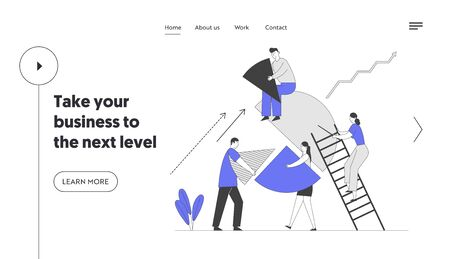 Business People Teamwork Cooperation and Partnership Website Landing Page. Businesspeople Set Up Huge Pie Chart Pieces in Whole Construction. Team Work Web Page Banner Cartoon Flat Vector Illustration