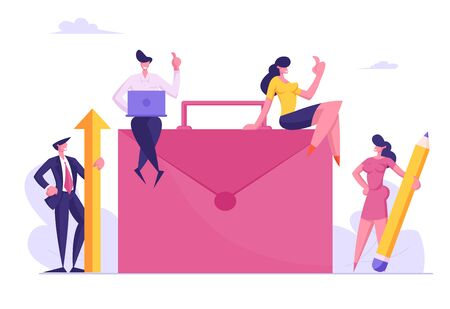 Teamwork Cooperation, Partnership and Office Work Concept. Businesspeople around of Huge Briefcase with Laptop, Pencil and Arrow Working and Developing Startup Project Cartoon Flat Vector Illustration Çizim