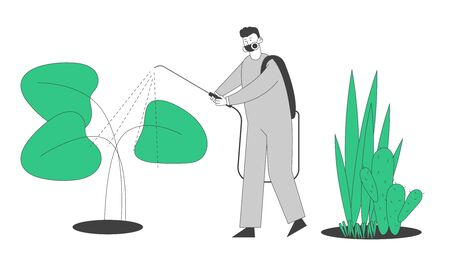 Worker in Protective Suit Spraying Fertilizers in Greenhouse. People Growing, Planting and Caring of Plants in Garden. Agriculture Farming Industry Hobby. Cartoon Flat Vector Illustration, Line Art Ilustração