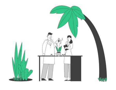 Botanist Scientists in Greenhouse with Gadget and Test Tube Learning Exotic Rare Plants Species. Agriculture, Farming Industry, Botany Science Investigation. Cartoon Flat Vector Illustration, Line Art