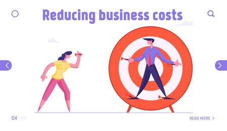 Unfair Fight, Bulling Website Landing Page. Businesswoman Aiming with Darts to Businessman Nailed to Huge Target. Businesspeople Fight for Leadership Web Page Banner. Cartoon Flat Vector Illustration Çizim