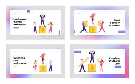 Goal Achievement Success, Best Financial Results Website Landing Page Set. Businesspeople Honor Colleague Standing on Winner Pedestal. Business Victory Web Page Banner Cartoon Flat Vector Illustration Çizim