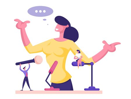 Public Orator Speaking From Tribune. Business Woman Manager Making Public Presentation Speech at Pedestal with Tiny Male and Female Characters Holding Microphones. Cartoon Flat Vector Illustration Ilustração