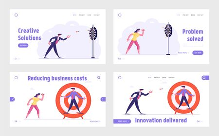 Persistence Aim Mission Challenge, Unfair Fight, Bulling at Work Website Landing Page Set. People Throwing Darts to Target. Dirty Tricks Fighting Web Page Banner. Cartoon Flat Vector Illustration