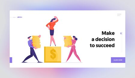 Finance and Career Success Website Landing Page. Businesspeople Carry Piles of Money to Pedestal with Business Woman Standing on Top Demonstrate Power Web Page Banner. Cartoon Flat Vector Illustration