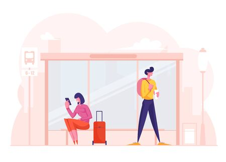 Young Stylish Woman with Suitcase and Man with Backpack Stand on Bus Stop Waiting Commuter. Girl Calling by Smartphone. City Life, People on Public Transport Station. Cartoon Flat Vector Illustration