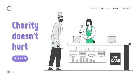 Night Shelter Emergency Housing Website Landing Page. Volunteer Serving Food to Homeless People. Woman Pouring Food to Beggar Man Standing at Desk Web Page Banner. Cartoon Flat Vector Illustration
