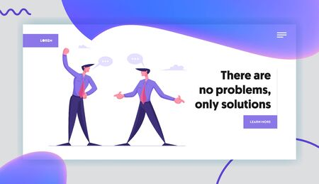 Fighting for Business Leadership, Disagreement Website Landing Page. Angry Businessmen Having Quarrel, Preparing to Fight Waving Fists and Arguing Web Page Banner. Cartoon Flat Vector Illustration Çizim
