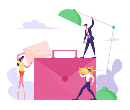 Businesspeople around of Huge Briefcase. Office Work and Partnership Cooperation Concept. Businesswoman Put Paper Envelope to Bag, Businessmen Hold Table Lamp and Tack Cartoon Flat Vector Illustration Ilustração