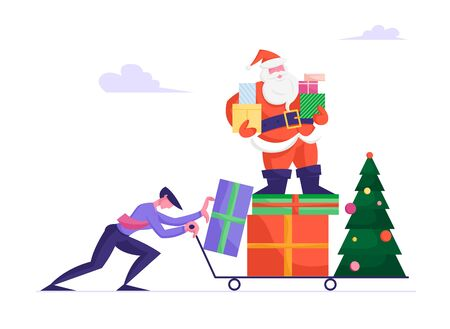 Businessman in Formal Wear Pushing Manual Trolley with Santa Claus Character Standing on Pile of Presents Holding Gift Boxes in Hands near Decorated Christmas Tree. Cartoon Flat Vector Illustration Çizim