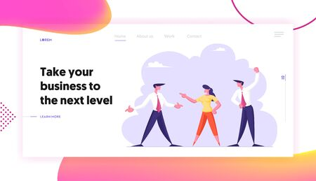 Fight for Leadership Website Landing Page. Business Men and Businesswoman Enemies or Opponents Arguing and Staring Each Other. Colleagues Work Quarrel Web Page Banner. Cartoon Flat Vector Illustration