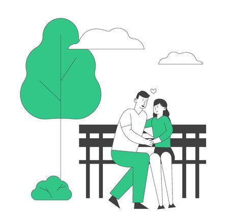 Young Loving Couple Hugging Sitting on Bench in City Park. Romantic Relations, Love, Summertime Vacation. Outdoors Summer Spare Time. Man Holding Woman Hand. Cartoon Flat Vector Illustration, Line Art